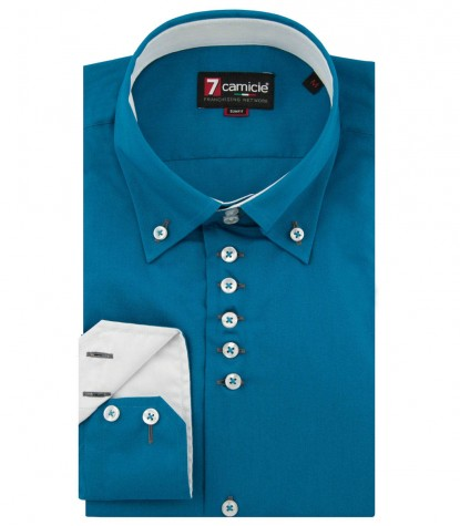 Shirt Roma poplin Teal Green