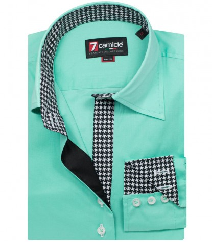 Camicia Beatrice Popeline stretch Verde Acqua