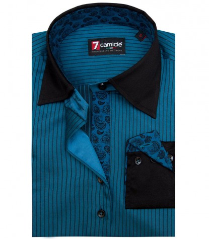 Camicia Beatrice Satin Blue Seaport Nero