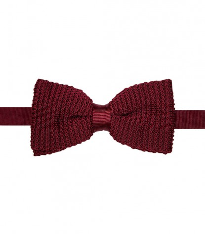 Ties Roma knitted slik Red Bordeaux