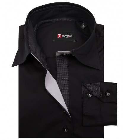 Camicia Beatrice Popeline stretch Nero