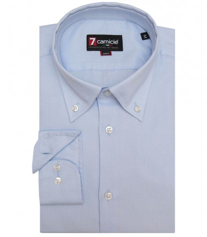 Camicia No Stiro Leonardo Oxford Celeste