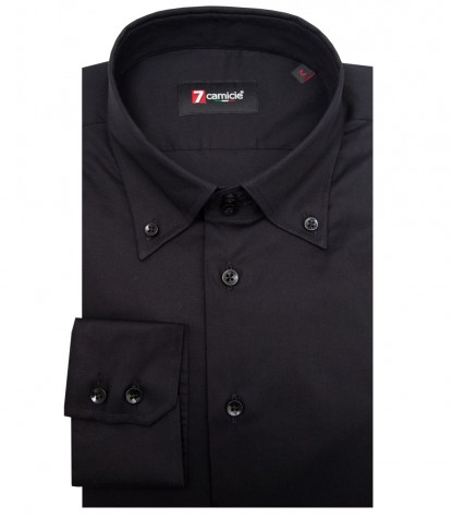 Shirt Roma stretch poplin Black