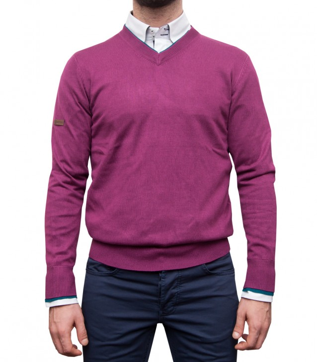 Knitwear Napoli Blended Cachemire Violet and Malibu Blue