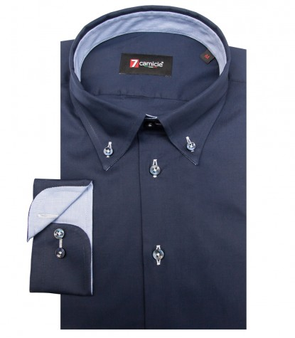 Shirt Leonardo stretch poplin Blu
