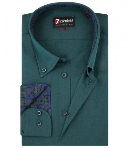 Shirt Leonardo Fil a fil Dark Green