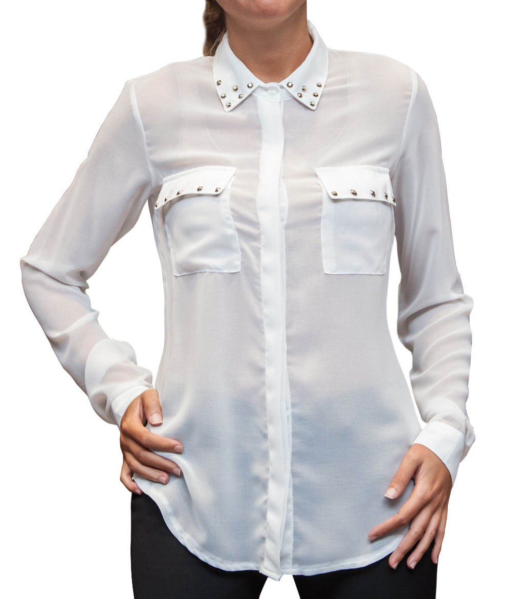 Shirt giulietta polyester white for Polyester button up shirt
