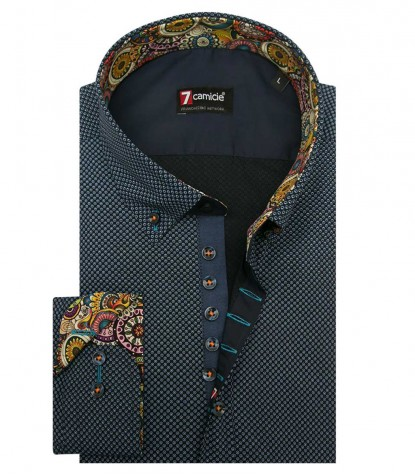 Shirt Donatello Cotton Blue Avion Blue
