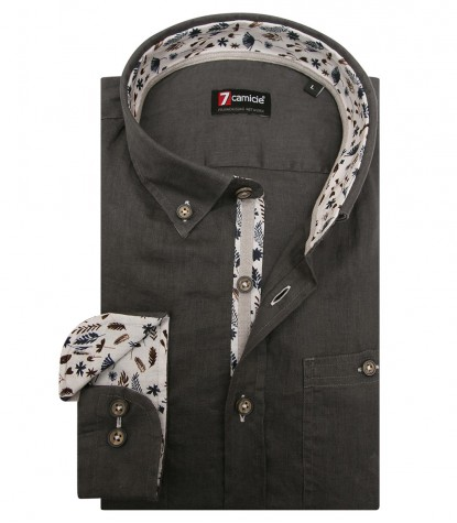Shirt Leonardo Linen Dark Grey