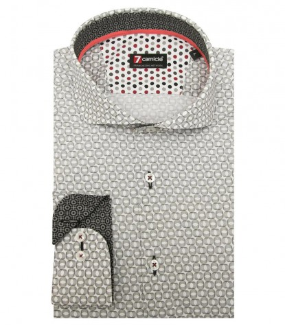 Shirt Firenze Poplin WhiteMiddle Shade Grey