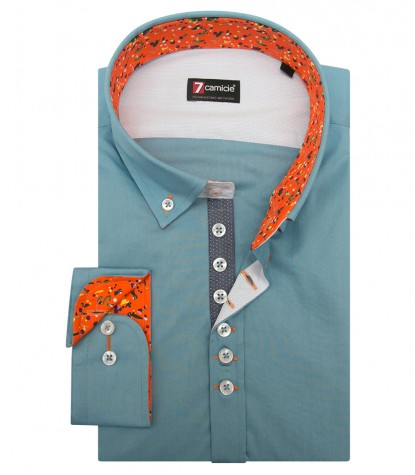 Shirt Donatello stretch poplin Cadet Light Blue