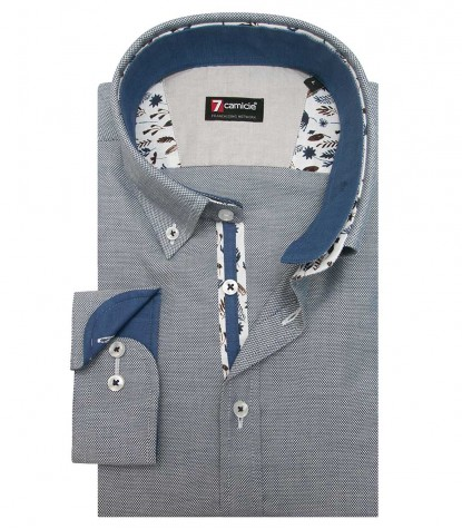 Shirt Leonardo Honeycomb fabric BlueWhite