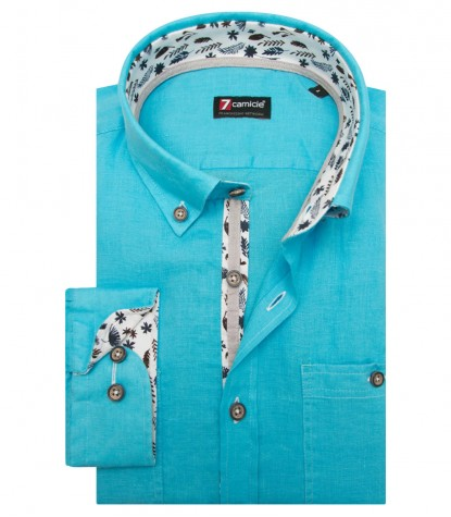 Shirt Leonardo Linen Melange Light Blue