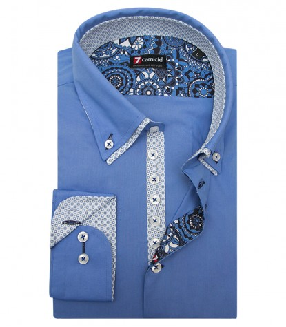 Camicia Donatello Popeline stretch Celeste Medio