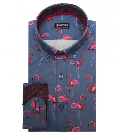 Shirt Leonardo Poplin Avion and Persia Red