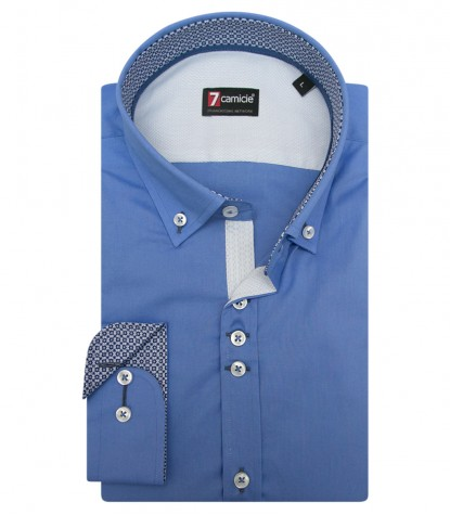 Shirt Leonardo stretch poplin Medium Blue