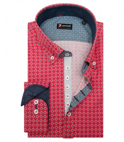 Shirt Donatello Cotton Coral Red Avion Blue