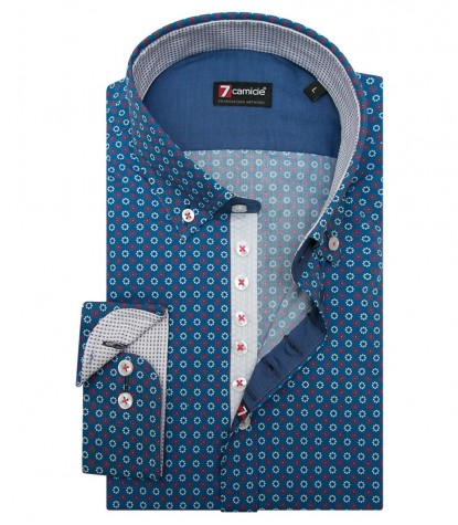 Shirt Donatello Cotton Blue Sky and Red