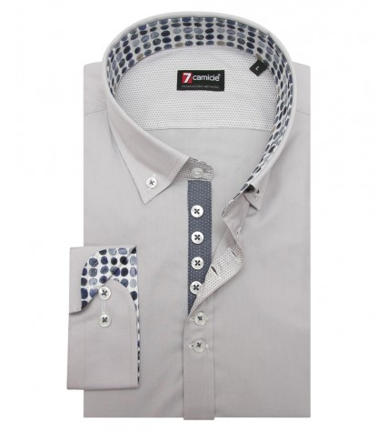 Shirt Donatello stretch poplin Light Grey
