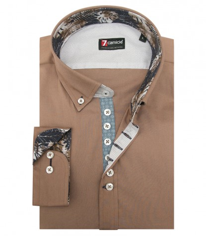 Shirt Donatello stretch poplin Dove Brown