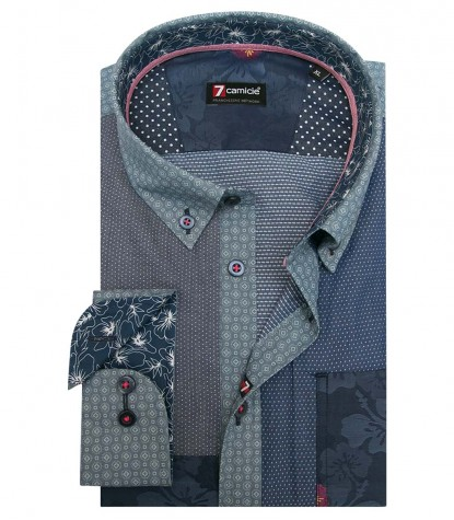 Shirt Leonardo jacquard Blue Cyclamen Purple