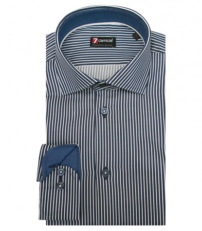 Shirt Firenze Satin Dark Blue and White