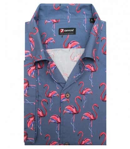Shirt Hawaii Poplin Avion and Persia Red