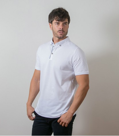 Polo Bianco 1 Bottone Button Down