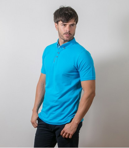 Melange Light Blue Polo Shirts
