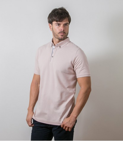 Polo Beige 1 Bottone Button Down