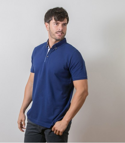 Polo Blu 1 bottone button down