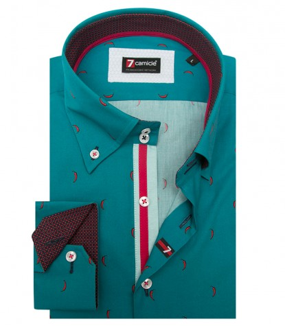 Shirt Roma Poplin Emerald Green and Red