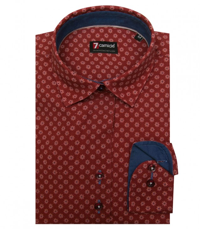 Shirt Linda Cotton Light Bordeaux and White