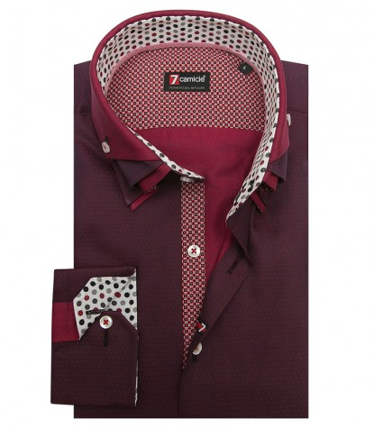 Shirt Vesuvio jacquard Bordeaux and Light Bordeaux