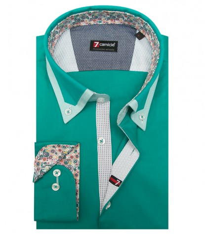 Shirt Leonardo stretch poplin Emerald Green