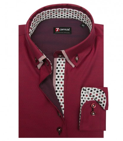 Shirt Linda jacquard Light Bordeaux and Bordeaux