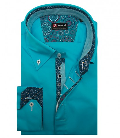 Shirt Roma Satin Melange Light Blue