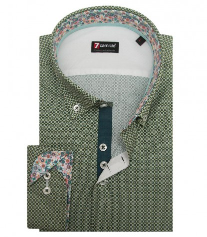 Shirt Leonardo Poplin Light Green and Teal Green