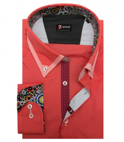 Shirt Leonardo stretch poplin Coral