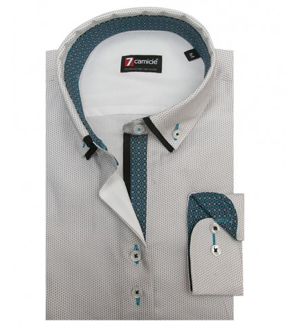 Shirt Linda Weaved WhiteLight Grey