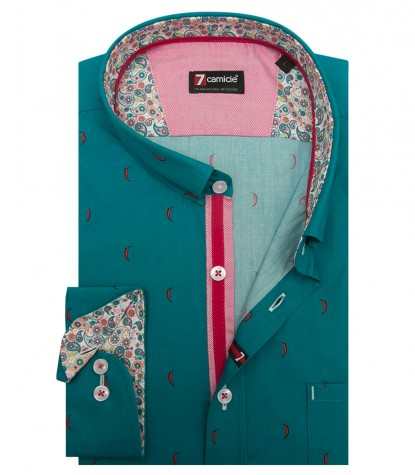 Shirt Romeo Poplin Emerald Green and Red