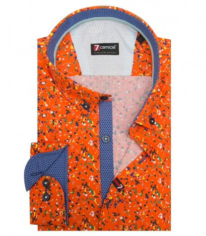Shirt Leonardo Poplin Orange and Leaf Green