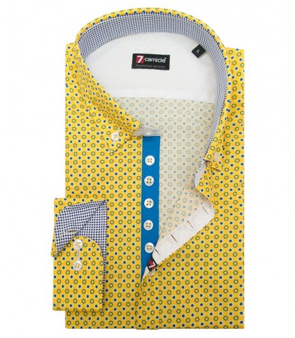 Shirt Donatello Cotton Yellow and Blue Sky