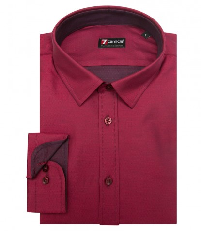 Shirt Romeo jacquard Light Bordeaux and Bordeaux