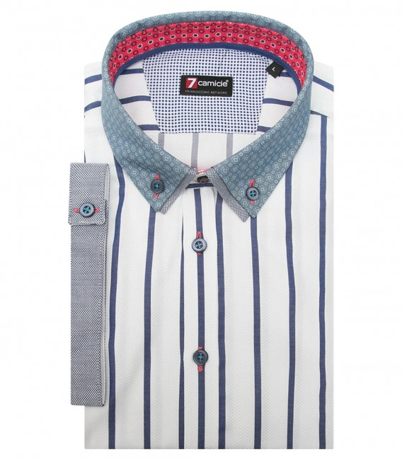 Shirt Leonardo Weaved White and Blue