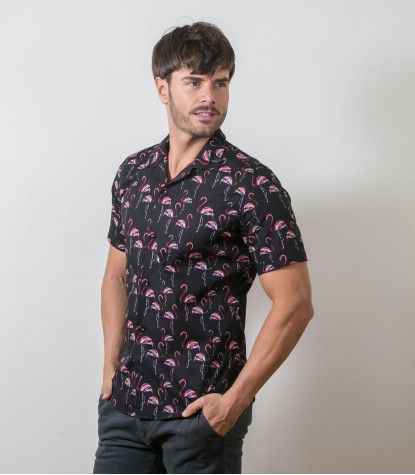 Shirt Hawaii Poplin Black and Persia Red
