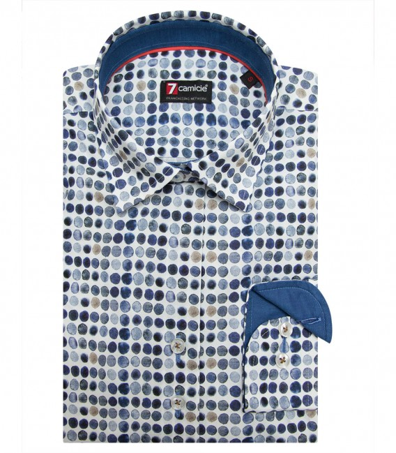 Shirt Linda Poplin White and Blue
