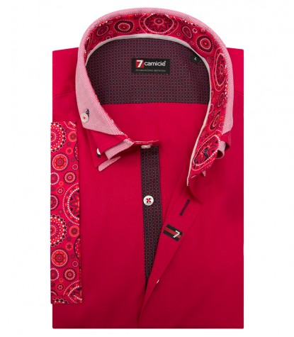 Shirt Vesuvio stretch poplin Persia Red