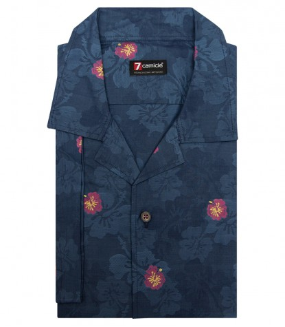 Shirt Hawaii jacquard Blue Cyclamen Purple