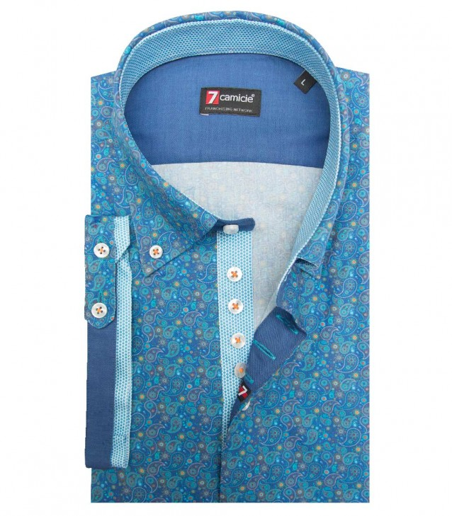 Shirt Roma Poplin Blue Sky and Turchese Chiaro